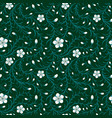 seamless white flower pattern on green background vector image vector image