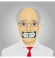 senior businessman with dollar bill taped to mouth vector image vector image