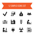 set of 12 editable office icons includes symbols vector image vector image