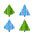 set of four pixel art christmas trees flat vector image vector image