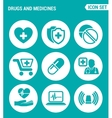 set of round icons white Drugs and medicines vector image vector image