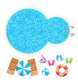 swimming pool and summer accessorises top view vector image