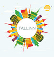 tallinn skyline with color buildings blue sky and vector image vector image
