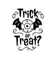 trick or treat emblem happy halloween card trick vector image vector image