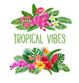 tropical banners exotic flower and leaves vector image vector image