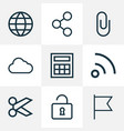 user icons line style set with storage social vector image vector image