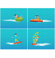 water transport and relaxation set kids vector image vector image