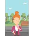 Woman holding icecream vector image vector image