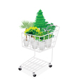 Green Trees and Plants in A Shopping Cart vector image