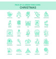25 green christmas icon set vector image