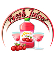 A fresh juice label with cherries vector image vector image