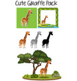 a pack of cute giraffe vector image vector image