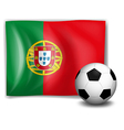 A soccer ball in front of the Portugal flag vector image vector image