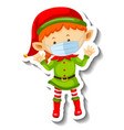 a sticker template with cute elf wearing mask vector image
