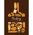 Bakery poster in shape of cutting board vector image vector image