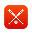 baseball bat and ball icon digital red vector image vector image