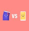 book vs e-book concept innovative technologies in vector image