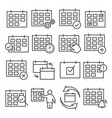 calendar line icons set on white background vector image vector image