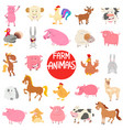 cartoon farm animal characters large collection vector image