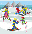 cartoon little children learning to skiing in vector image