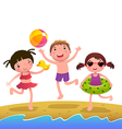 Children on the sunny beach vector image vector image
