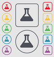 Conical Flask icon sign symbol on the Round and vector image