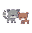 cute cat with bear animals isolated icon vector image vector image