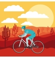 cycling race with beautiful landscape background vector image vector image