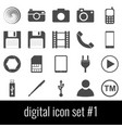 digital icon set 1 gray icons on white vector image
