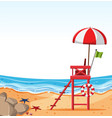 empty beach with lifeguard chair vector image vector image