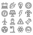 energy electricity icons set on white background vector image
