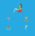 flat icon pregnant set of pregnant woman yoga vector image