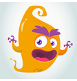 funny orange cartoon flying monster vector image vector image