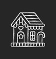 gingerbread house chalk white icon on black vector image