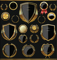 gold and black shields labels and laurels vector image vector image