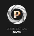 golden letter p logo symbol in the circle shape vector image