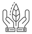 hand protect leaf icon outline style vector image vector image