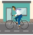 Handsome guy rides a bike vector image vector image