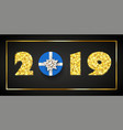 happy new year card 3d gift box ribbon bow gold vector image vector image