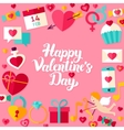 Happy Valentine Day Lettering Postcard vector image