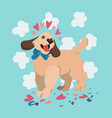 happy valentines day cute dog with bow tie vector image