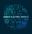 hybrid electric vehicle round blue line vector image vector image