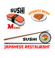 icons for japanese sushi seafood restaurant vector image vector image