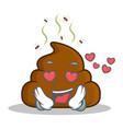 in love poop emoticon character cartoon vector image vector image