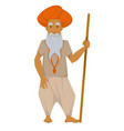 indian elderly man with wooden stick in turban vector image vector image