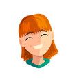 laughing redhead girl female emotional face vector image vector image