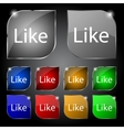 Like sign icon Set of colored buttons vector image