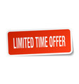 limited time offer square sticker on white vector image vector image