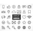line social media icons set vector image
