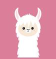 llama alpaca animal face cute cartoon kawaii vector image vector image